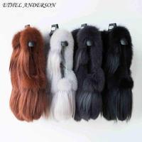 Ethel Anderson Real Fox Fur Vest Women Vogue Short Gilet With Tassels Vest Full Pelt Elegnat Sleeveless WaistCoat Wholesale
