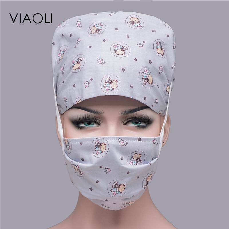 Viaoli 2019 Gray Star Pattern Printed Surgical Cap Female Cotton Nurse Hat Male Doctor Printing Hat Tie Elastic Dome Dentist Cap