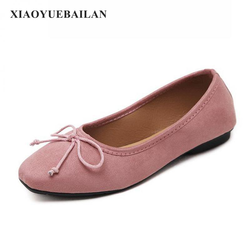 2017 Spring And Autumn New Fashion Square Comfortable Flat Shallow Mouth Low Bow Shoes Leisure Merchandiser shoes