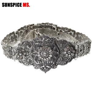 Image 3 - SUNSPICE MS Vintage Wedding Belt Flower Sash For Women Antique Silver Color Adjustable Length Caftan Rhinestone Bridal Jewelry