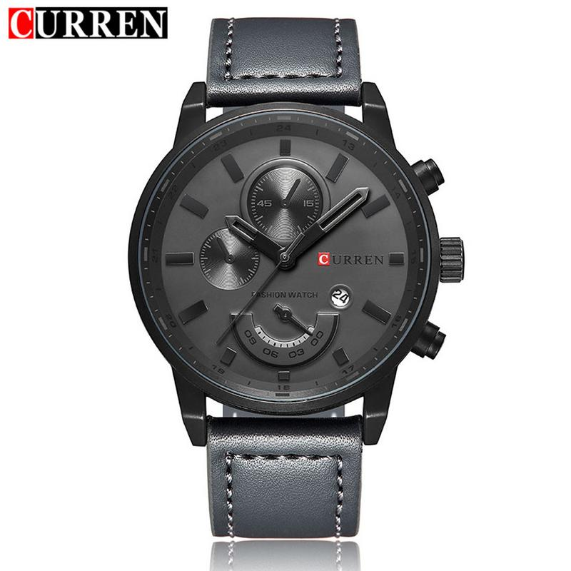 CURREN 8217 Quartz Watch Luxury Men's Quartz Watch Waterproof Casual Calendar Sports Clock Men Wristwatch With Leather Band curren 8217 casual men quartz watch black