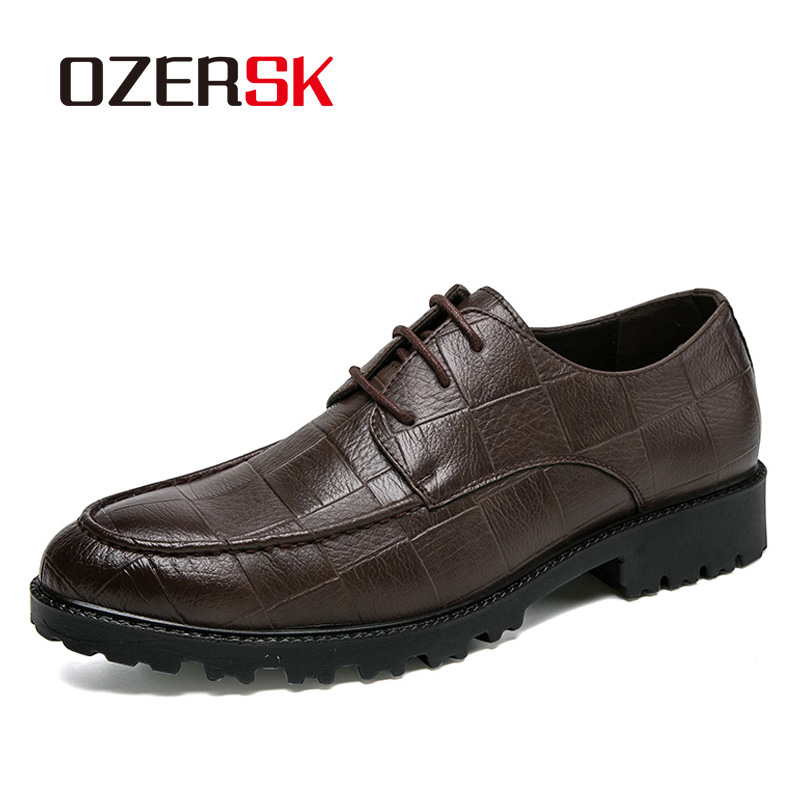 OZERSK New Arrival Retro Plaid Style Design Men Classic Business Formal Shoes Round Toe Leather Shoes Men Oxford Dress Shoes