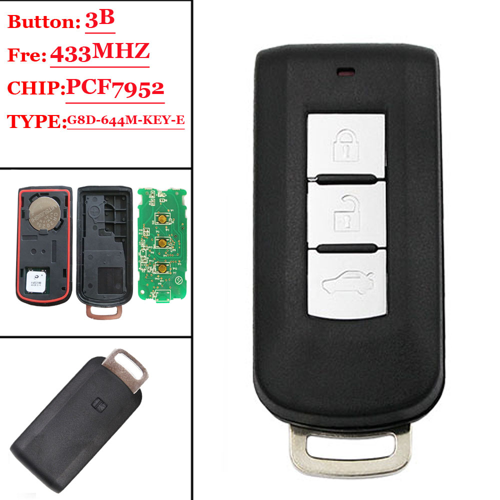 1pcs 3 buttons keyless remote key smart card FSK for Mitsubishi ASX Lancer Outlander with PCF7952 chip with small blade 433mhz