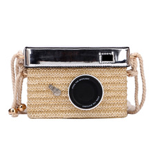 Contracted.Womens straw bag 2019 new versatile fashion small square retro woven foreign style camera box