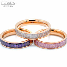 FYSARA Luxury Jewelry Boho Female Ring White Pink Rose Gold Color Colorful Ring With Inlaid CZCrystal Rings for Women
