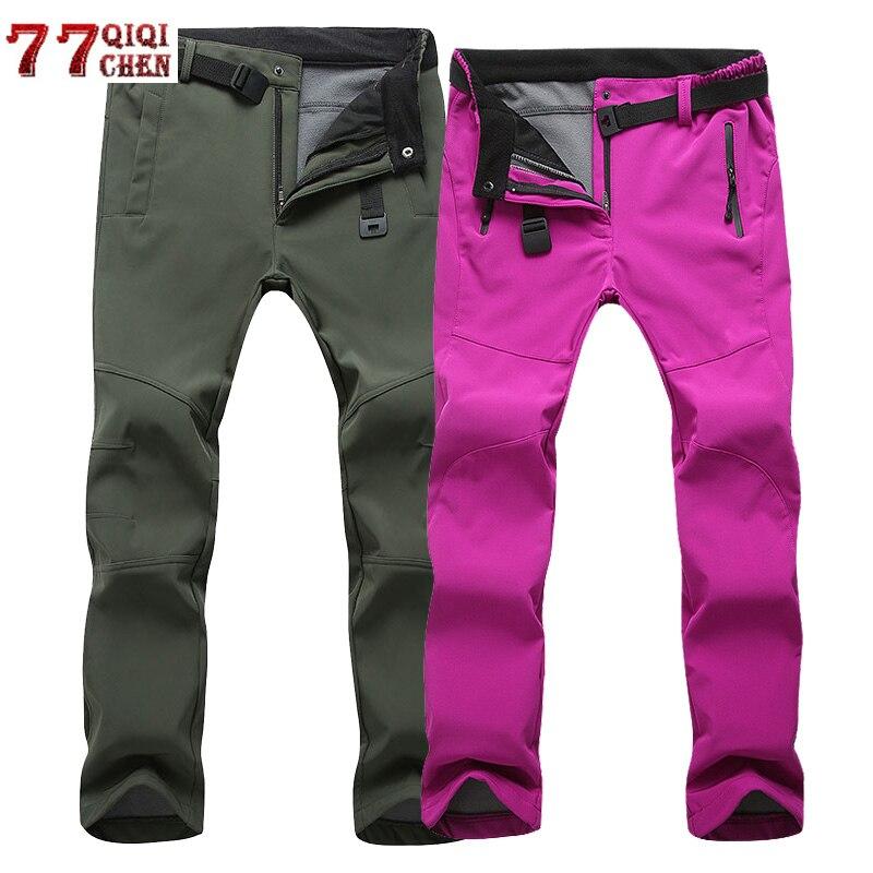 Stretch Waterproof Casual Pants Men Women Winter Warm Fleece Shark Skin Waterproof Trousers Sweatpants Tactical Army Cargo Pants