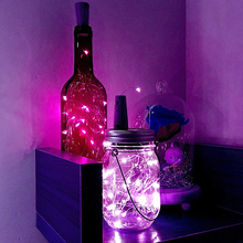 2m 20LEDs Wine Bottle String Lights Waterproof Silver Copper Wire Light Fairy Cork String Light for Party and Wedding Decoration