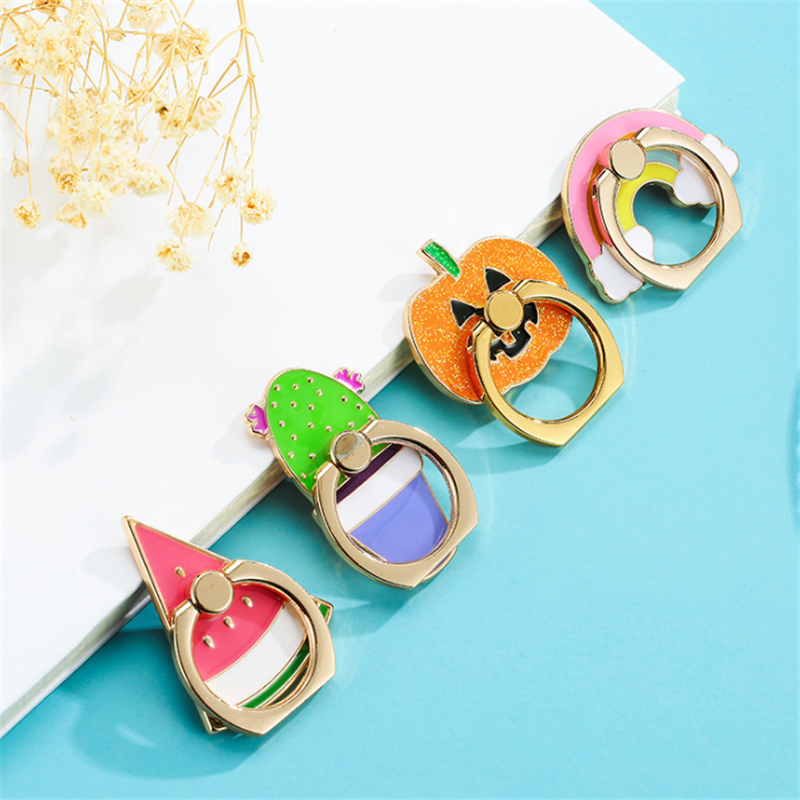 UVR Mobile Phone Stand Holder Metal Rainbow Finger Ring For IPhone Xiaomi Huawei All Phone Pumpkin Man Smart Phone Holder Stand