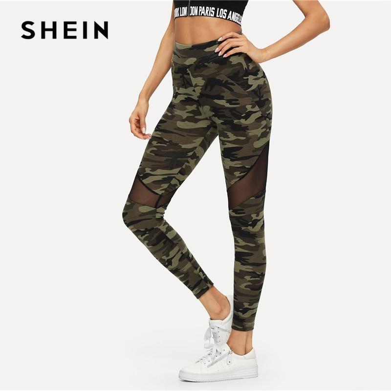 9d341dc45585d5 SHEIN Multicolor Mesh Insert Camo Print Leggings Sporting Patchwork ...