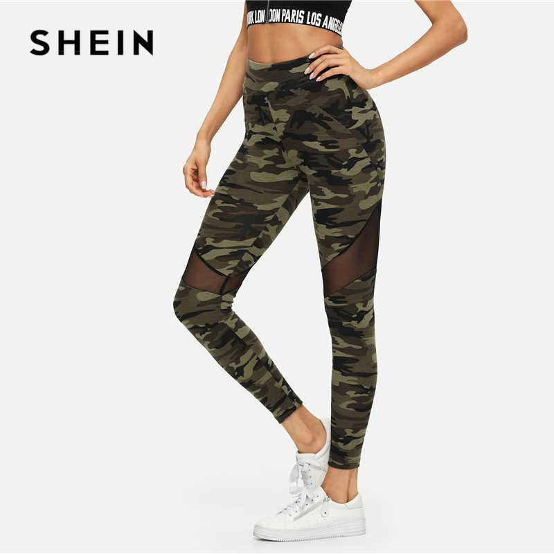 829eee6874e9a ... SHEIN Multicolor Mesh Insert Camo Print Leggings Sporting Patchwork  Sheer Crop Pants Women Autumn Athleisure Leggings ...