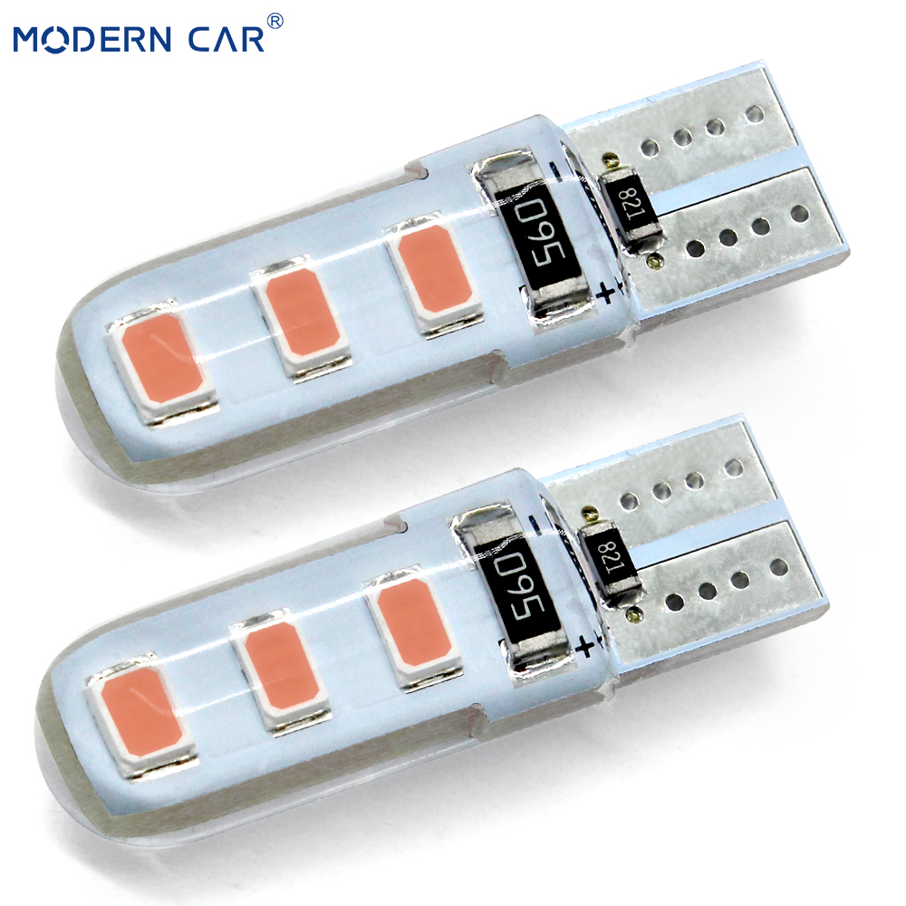 MODERN CAR <font><b>100x</b></font> <font><b>T10</b></font> W5W <font><b>LED</b></font> Car Light Bulb SMD 5730 Silicone Waterproof Universal Auto Wedge Light Headlamp Signal Parking Lamps image