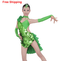 Girls Sexy Open Back Sequin Latin Dance Dress Tulle Cocktail Competition Costumes Children Fish Scale Stage