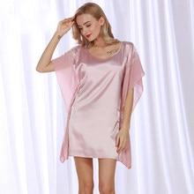 c8b2f60c881 SSH082 2017 New Sexy Satin Silk Night Dress Lace Women Sleepwear Summer  Pijama Batwing Sleeve Nighties