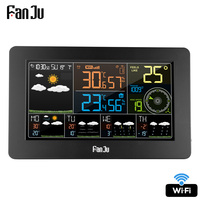 FanJu FJW4 Digital Alarm Wall Clock Weather Station wifi Indoor Outdoor Temperature Humidity Pressure Wind Weather Forecast LCD