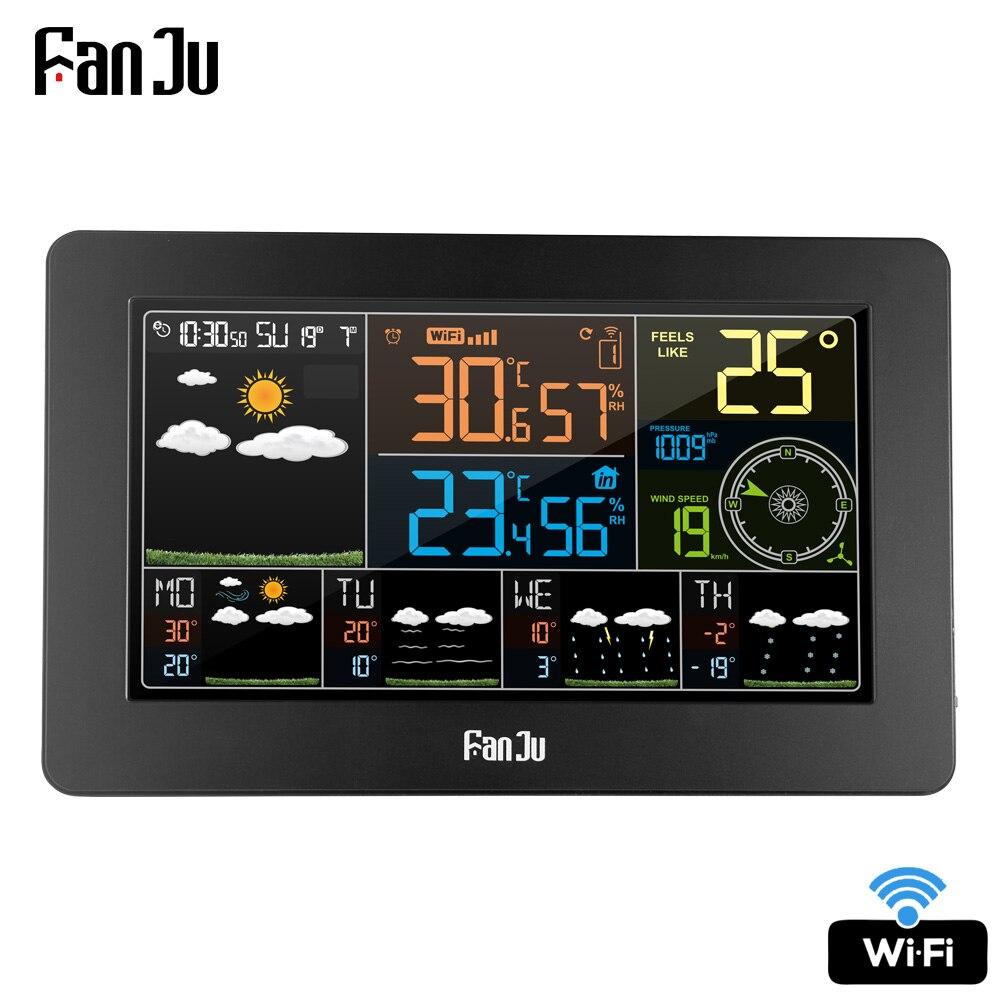 FanJu FJW4 Digital Alarme Relógio de Parede Estação Meteorológica Previsão do tempo wi-fi Indoor Outdoor Temperatura Umidade Pressão Do Vento LCD