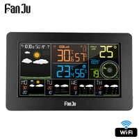 FanJu FJW4 Digitale Orologio Da Parete di Allarme Stazione Meteo wifi Indoor Outdoor di Umidità di Temperatura di Pressione del Vento Previsioni Meteo LCD