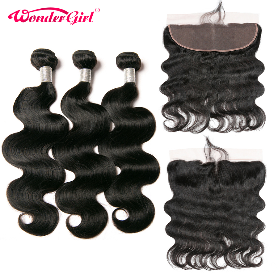 Wonder girl Brazilian Body Wave 3 Bundles With Frontal Ear To Ear 13x4 Lace Frontal Closure