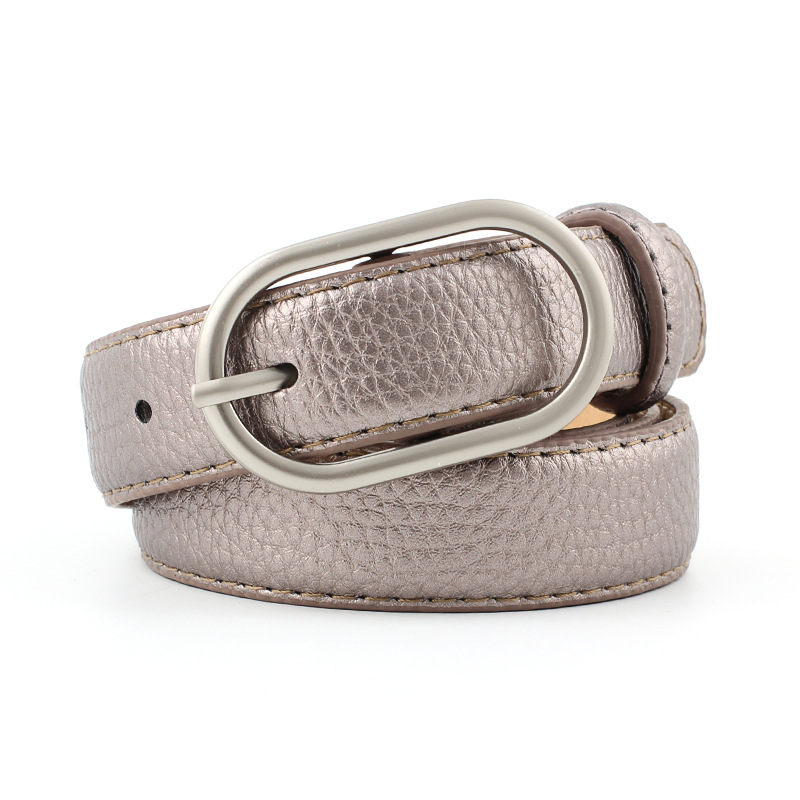 Badinka 2018 New Gold Silver Black Pink White Faux Leather Belt Wasitband Ladies Thin Skinny Waist Belts for Women Jeans Pants