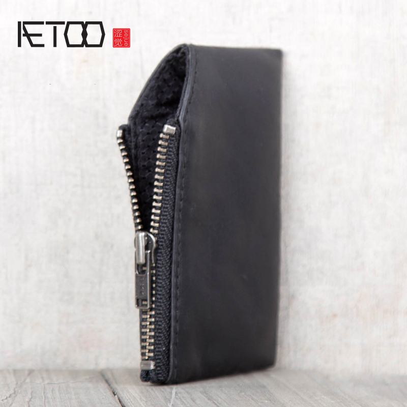 AETOO Handmade tire cowhide Wallet Leather Card pack male and female general