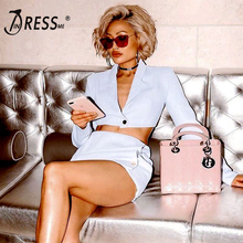 INDRESSME Fashion Women V Neck Blazer Suit 2 Piece Sets Button Long Sleeveless Dress Sexy Club Women Short Top Women Mini Skirt