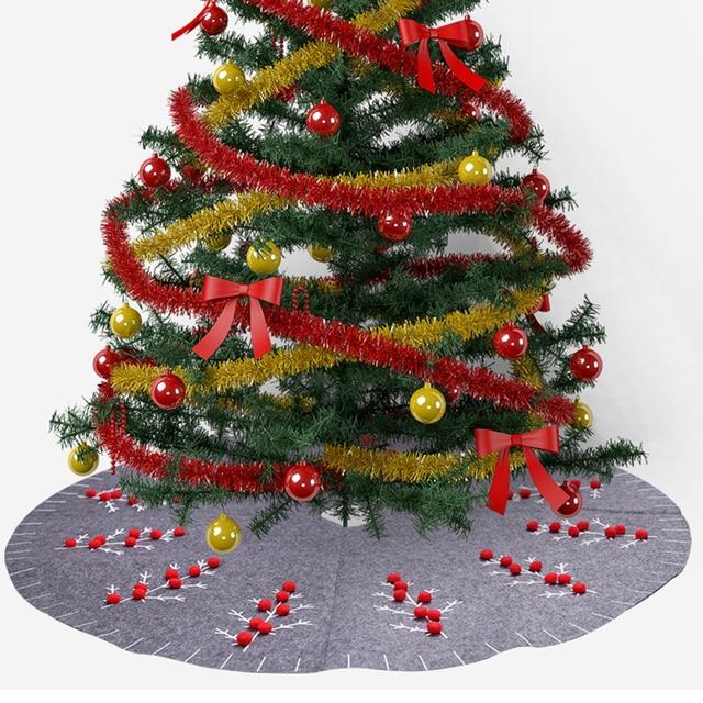 120cm Grey Felt Christmas Tree Skirt For Home Decor New Year Xmas