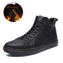 SUROM Plush Warm Men Leather Casual Shoes Genuine Leather High Top Winter Shoes Lace up Ankle Boots tenis masculino Size 38-44