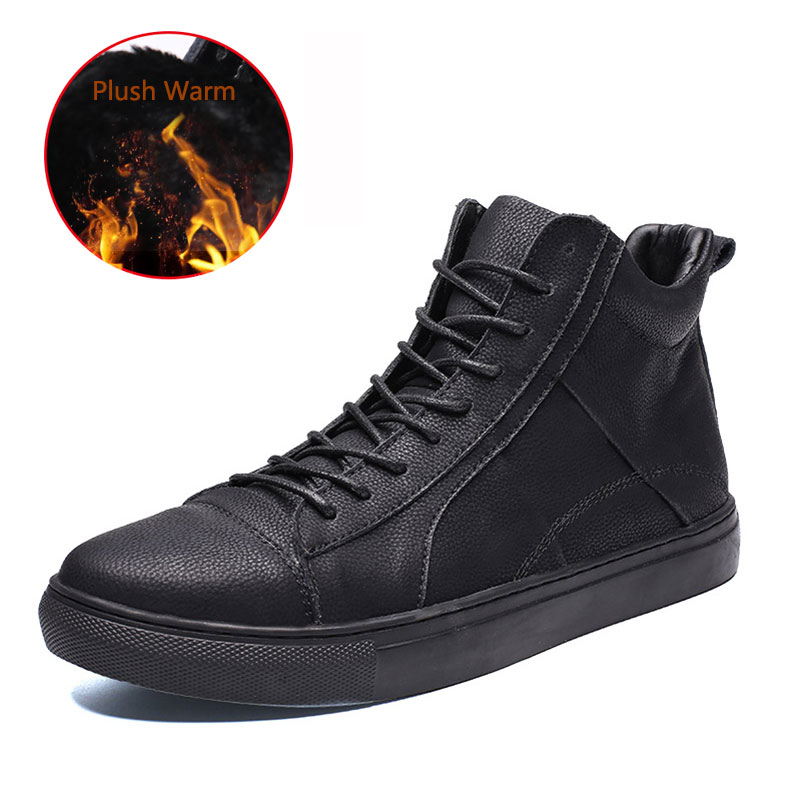 SUROM/плюшевая Теплая мужская кожаная повседневная обувь, зимняя обувь из натуральной кожи с высоким берцем, ботильоны на шнуровке, tenis masculino, р...