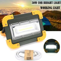 30W Portable USB LED Camping Light Rechargeable COB LED Flood Light Outdoor Light Outdoor Work Spot Light For Fishing Hiking