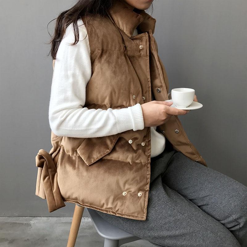 Velours Quotidienne Gilet Mode camel Veste Bowknot 2018 Manche Vintage Blousons Sans Vêtements Femelle Pour Gris rose Casual Manteau Côtés D'hiver Femmes 1qr1SvxOw