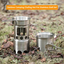 2pcs Outdoor Cooking Set Lightweight Folding stainless steel boiler Portable Stove Picnic BBQ Camping Cookware