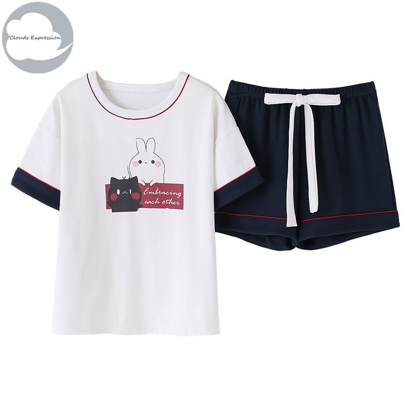 Summer NEW Knitted Cotton Cartoon Women's   Pajama     Set   lovers Nightwear Suit Pants Men's   Pajama     Sets   Mujer Sleep&Lounge Homewear