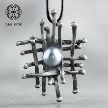 Женский кулон и ожерелье ручной работы, винтажное длинное ожерелье, женские модные аксессуары, ожерелье с геометрическим большим кулоном