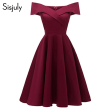 цена Sisjuly Women Dress Sexy Elegant Off Shoulder 2019 Cotton Elastic A Line Lady Slim Slash Neck Spring Vintage Short Party Dresses онлайн в 2017 году