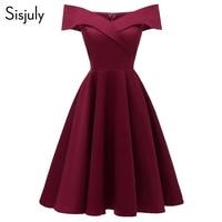 Sisjuly Women Dress Sexy Elegant Off Shoulder 2019 Cotton Elastic A Line Lady Slim Slash Neck Spring Vintage Short Party Dresses