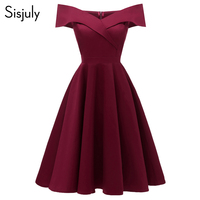 Sisjuly Women Dress Sexy Elegant Off Shoulder 2018 Cotton Elastic A Line Lady Slim Slash Neck Spring Vintage Short Party Dresses
