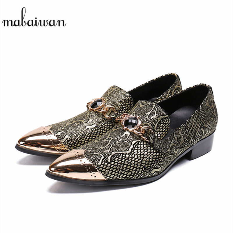 Mabaiwan Slip On Men Shoes Gold Metal Toe Mixed Colors Party Shoes Rhinestones Leather Men Handmade Wedding Prom Loafers Flats piergitar fashion men suede shoes handmade men loafers for party and wedding prom breathable leather insole slip on men s flats