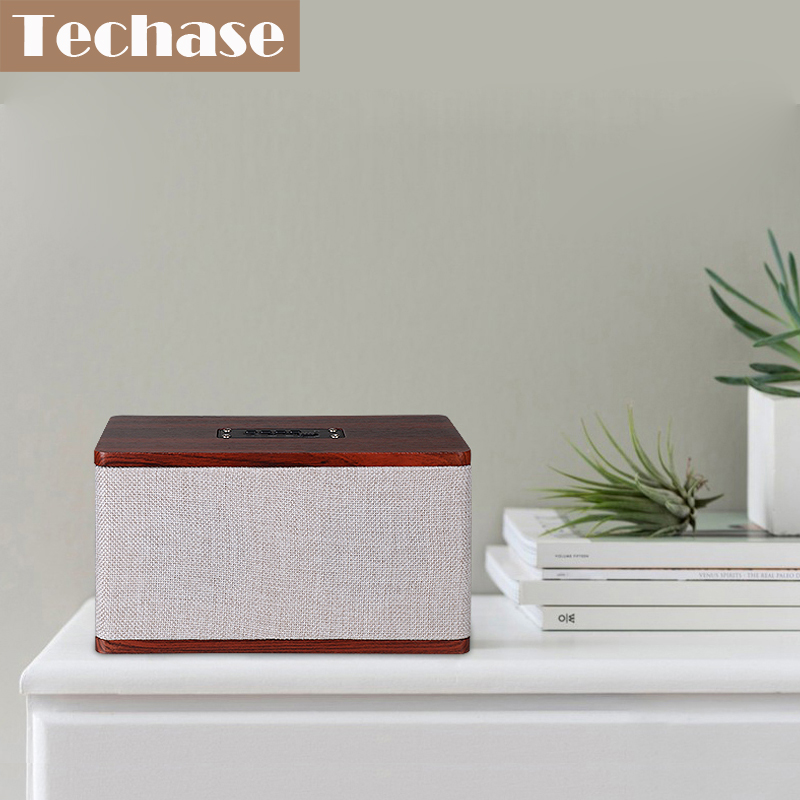 Techase Wooden Bluetooth Speaker Subwoofer 10W Portable Super Bass Wireless Mini Caixa De Som Para Celular TF Card AUX Speakers