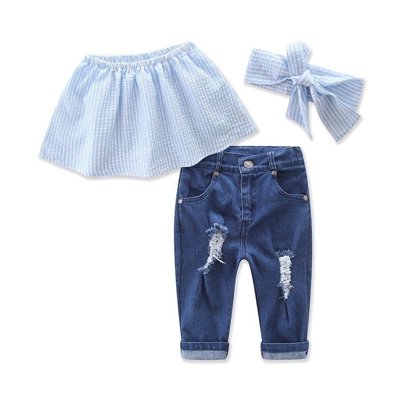 3pcs Baby Girls Striped Blosue Shirt Tops Jeans Denim Pants Headband Outfits Set Summer Three Pieces