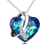 YFN Geniuses 925 Ayar Gümüş Mavi Kalp Okyanus Kolye Kolye Kristaller Zincir Kolye Ile Kadınlar Için