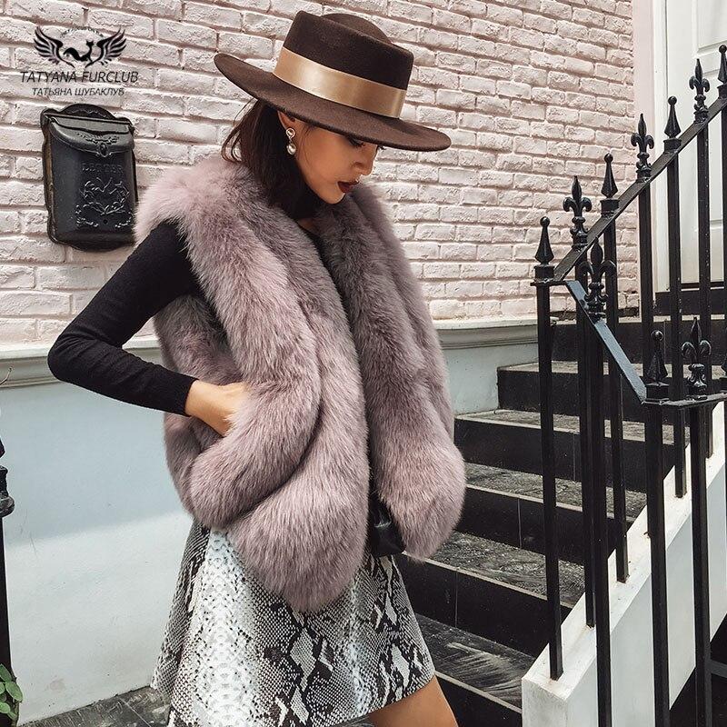 Tatyana furclub réel renard fourrure gilet 2018 nouveau Design femmes fourrure veste naturel renard fourrure gilet hiver court pardessus gilet vestes