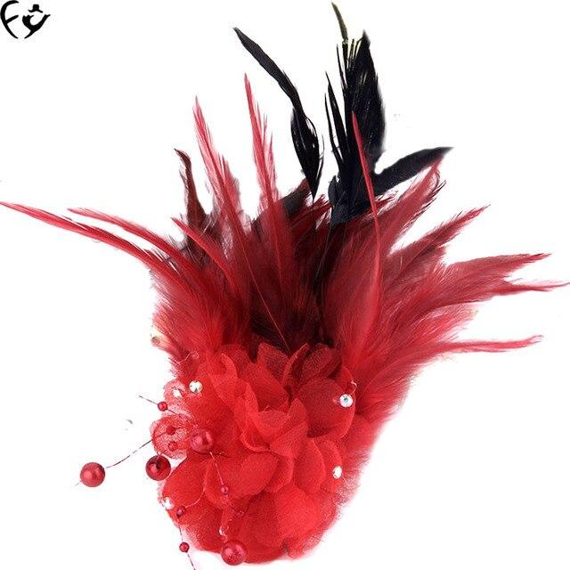 Новые невесты перо ткань цветок брошь цветок FY17082203