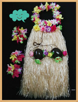 Festive & Party Supplies 80cm adult hawaii hula skirt Elastic dancing skirt with coconut bra Hawaii Dance Skirt sets 1set/lot