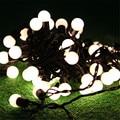 5 M 50 pcs Fada Bola de Cordas Luzes de Natal Ao Ar Livre Guirlanda Corda Globo Bola Luz Cordas Garland Casamento Decoração 110 V 220 V