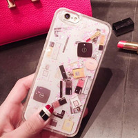 New Fashion Cosmetic Makeups Lipstick Perfume Glitter Quicksand Luxury High Quality Phone Case For IPhone 6