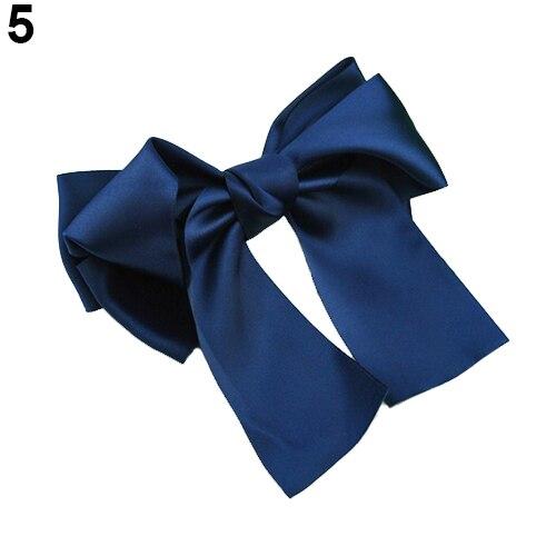 Горячая красочные Для женщин атласной лентой бантом Заколки для волос заколка хвост держатель 5BU9 7G9E