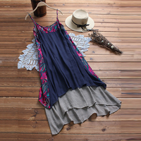 Women Vintage Floral Printed Patchwork Dress 2019 Summer Women Strappy Sleeveless Cotton Double Layer Veil Long Maxi Vestido