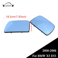 KOLEROADER For BMW X5 E53 Blue Rearview Heated Side Door Mirror Glass Wide Angle Car Auto Mirrors 2000 2006 Left Right //