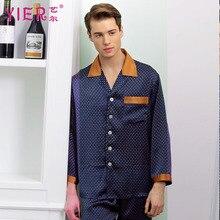 1702 yier бренд Для мужчин Шелковая пижама с длинным рукавом Пижама мужской роскошный шелк 100% пижамы Для мужчин гостиная Пижамы для девочек Бесплатная Доставка