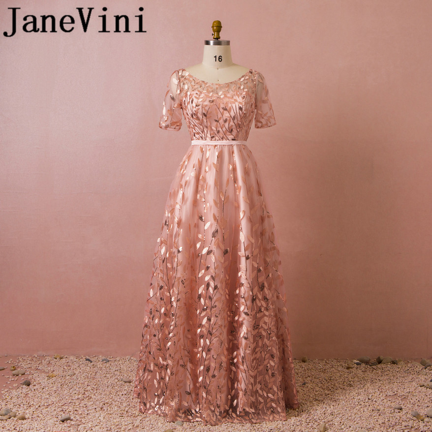 JaneVini Shinning Sequined Embroidery Long   Bridesmaid     Dresses   For Weddings A-Line Short Sleeves Floor Length Formal Prom Gowns