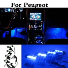 New Car Styling-Blue LED Interior Atmosphere Lights Decoration Lamp For Peugeot 308 GTi 4007 4008 407 408 508 607 iOn RCZ